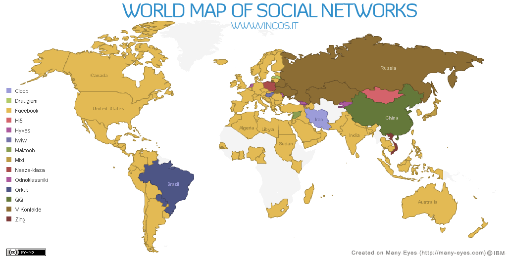 World Map of Social Networks 2010