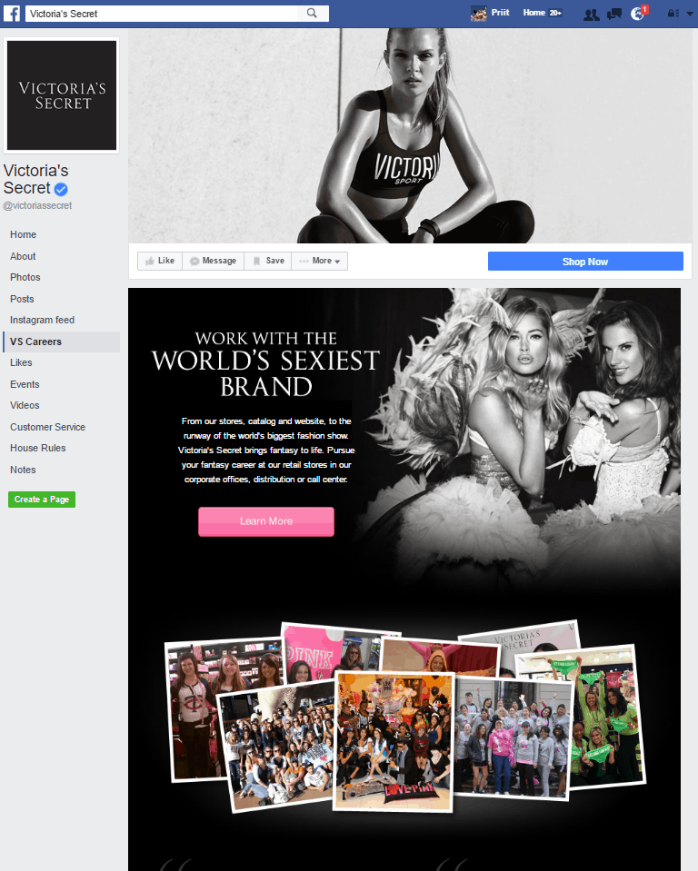 Victoria's Secret Facebook Page