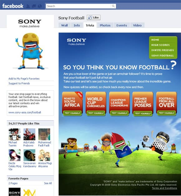 Sony Football Facebook Page