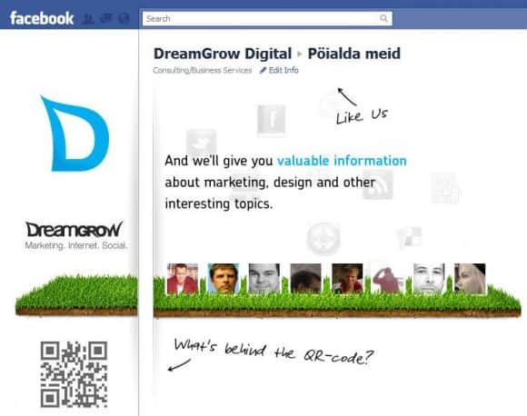 dreamgrow facebook landing page 580x458 5 Tips to Improve Your Facebook Landing Page