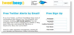 tweetbeep 54 Free Social Media Monitoring Tools [Update2012]
