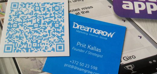 QR code on a business card
