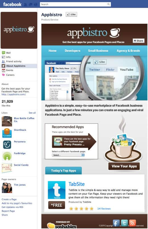 appbistro 520x801 26 Great Facebook Landing Page Examples