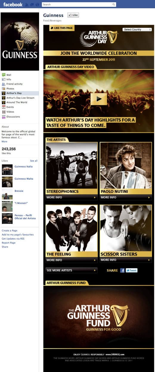 guiness1 520x1244 26 Great Facebook Landing Page Examples