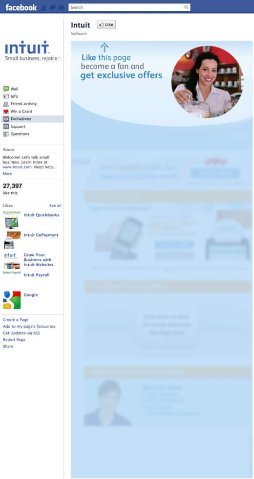 intuit1 520x979 26 Great Facebook Landing Page Examples