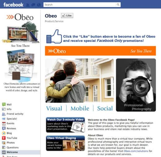 obeo 520x507 26 Great Facebook Landing Page Examples