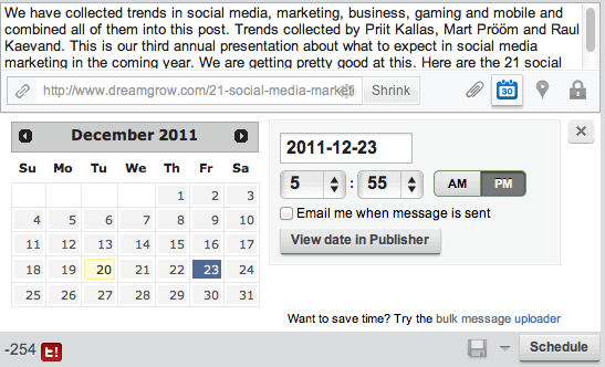 HootSuite Facebook post scheduling
