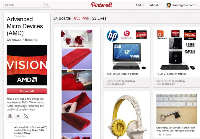 pinterest brand pages advanced micro devices amd 41 Great Examples of Pinterest Brand Pages