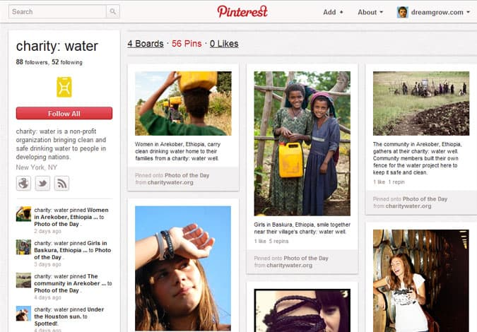 pinterest brand pages charity water 41 Great Examples of Pinterest Brand Pages