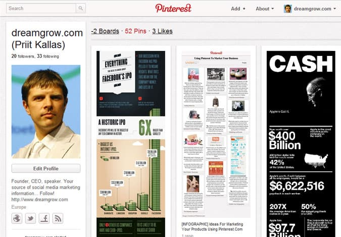 pinterest brand pages dreamgrow.com  41 Great Examples of Pinterest Brand Pages
