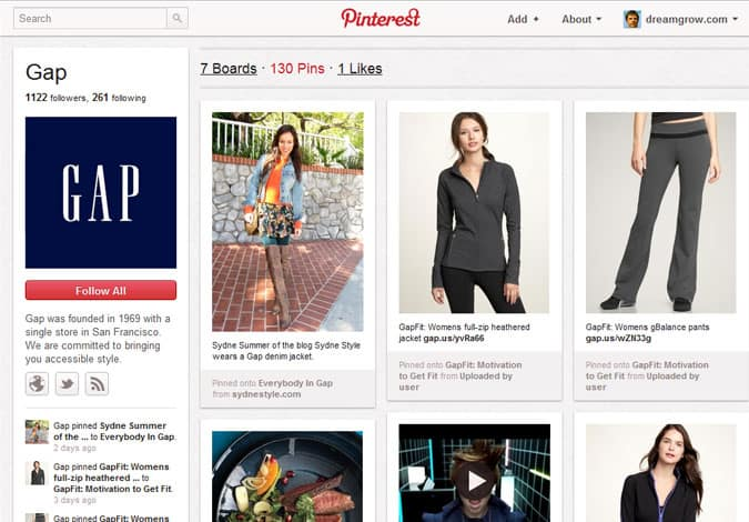 pinterest brand pages gap 41 Great Examples of Pinterest Brand Pages
