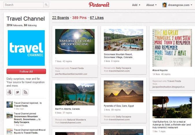 pinterest brand pages travel channel 41 Great Examples of Pinterest Brand Pages