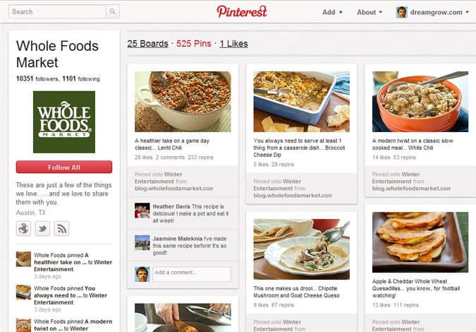 pinterest brand pages whole foods 41 Great Examples of Pinterest Brand Pages