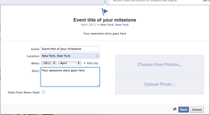 make facebook milestone event