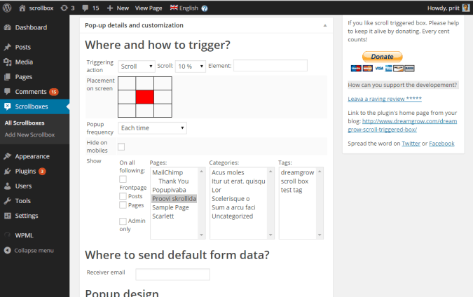 scroll triggered box settings settings 675x424 Dreamgrow Scroll Triggered Boxes WordPress plugin