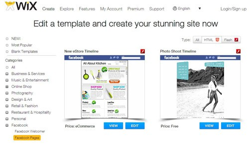 Wix Free Facebook Page Creation Tools