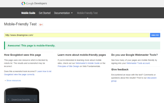 Google's Mobile Friendly Test