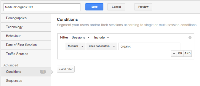 google analytics segment not organic