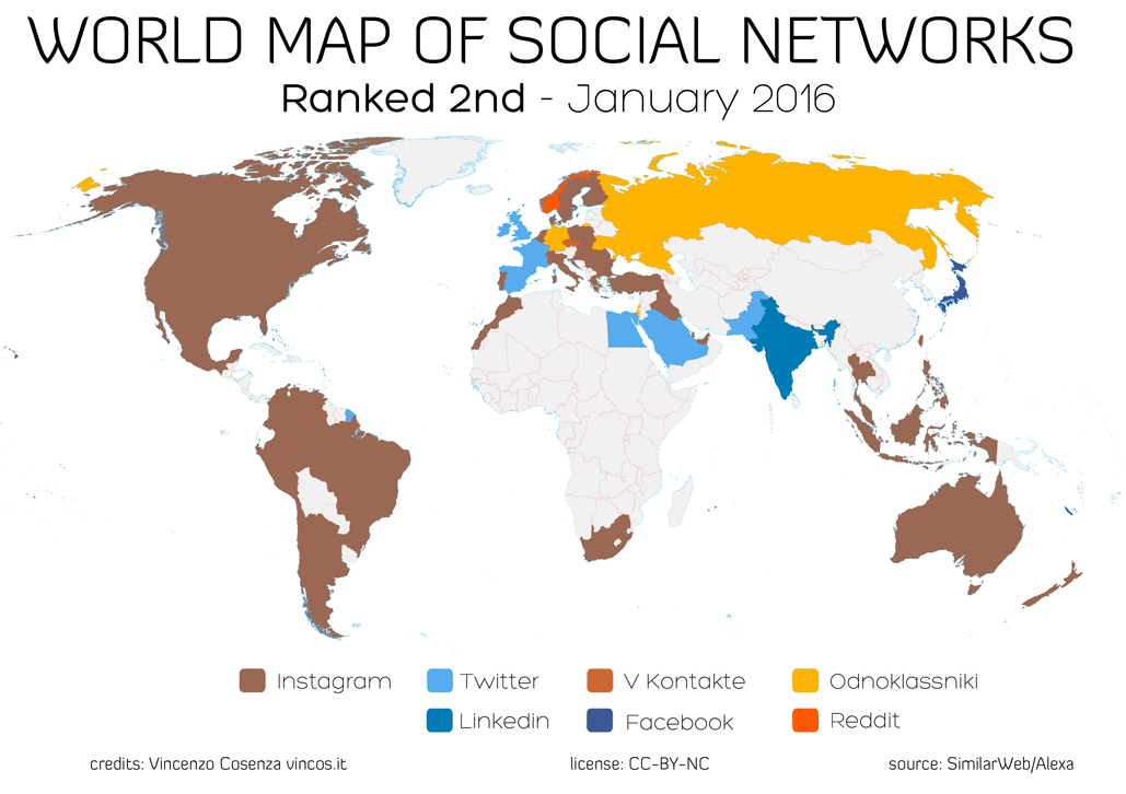 world map of 2nd social networks