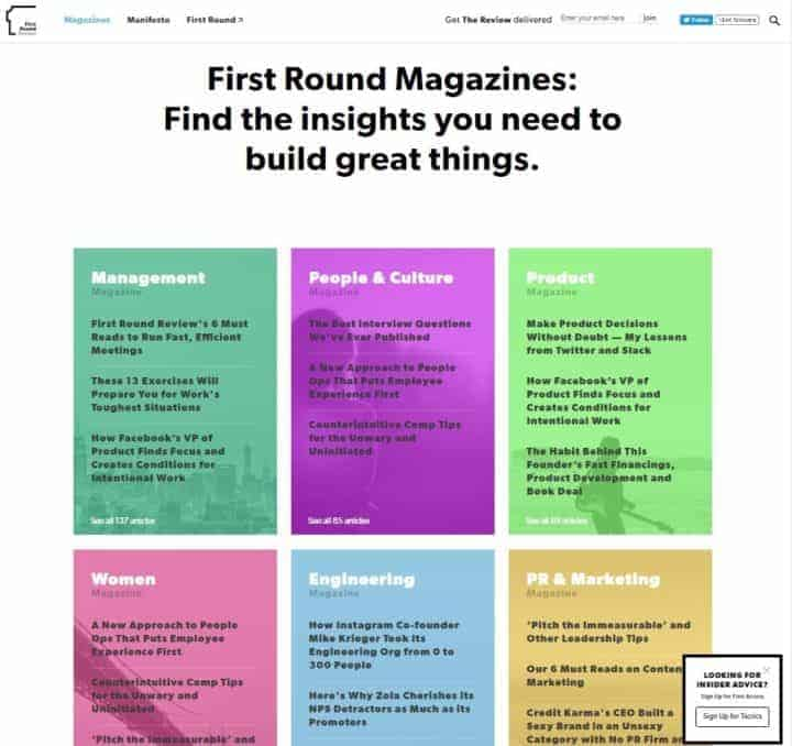 b2b content marketing example first round