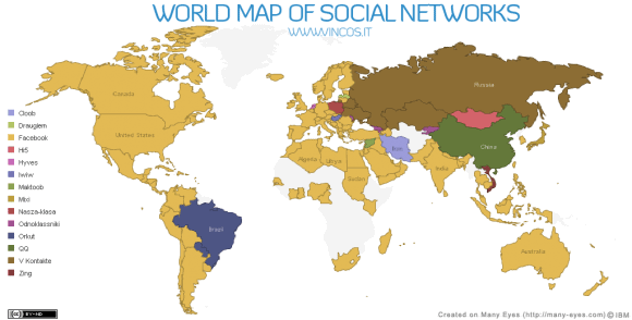 world map social networking sites 2010 580x294 World Map of Social Networks 2010