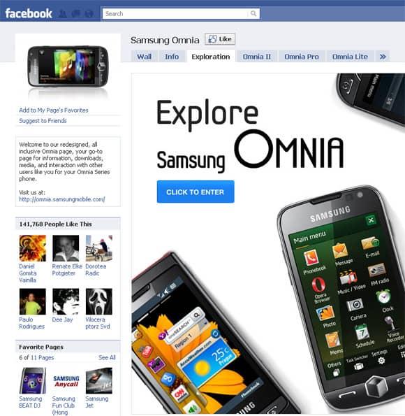 Samsung Omnia Facebook Page