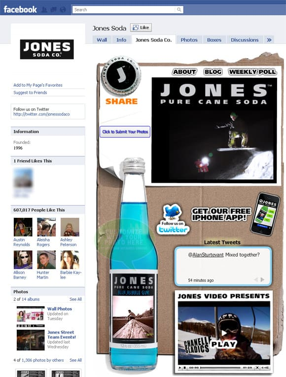 Jones Soda Facebook Page