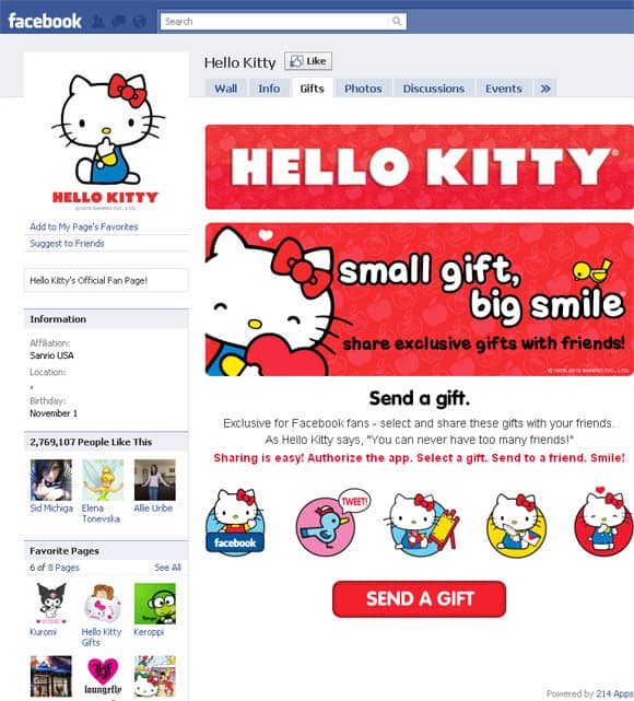 Hello Kitty Facebook Page