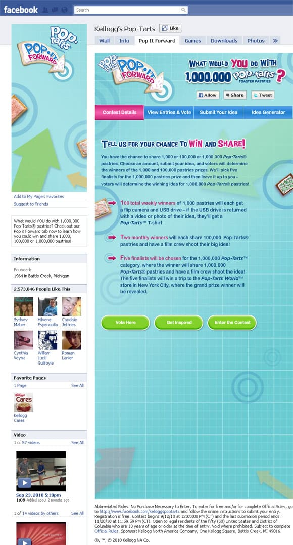 Kellogg's Pop Tarts Facebook Page