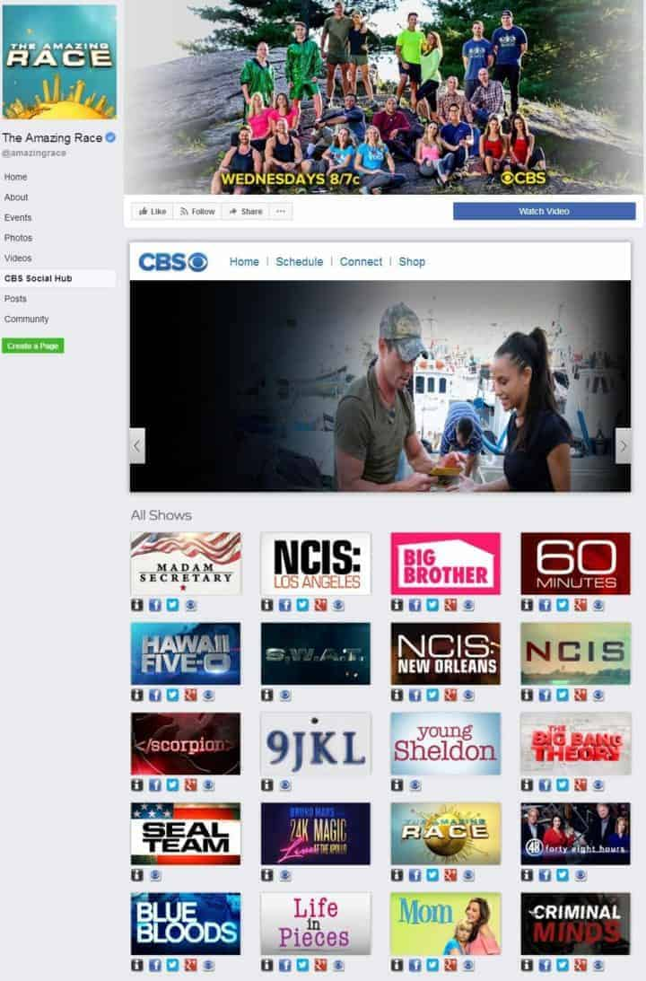 facebook cover image amazing race cbs social hub