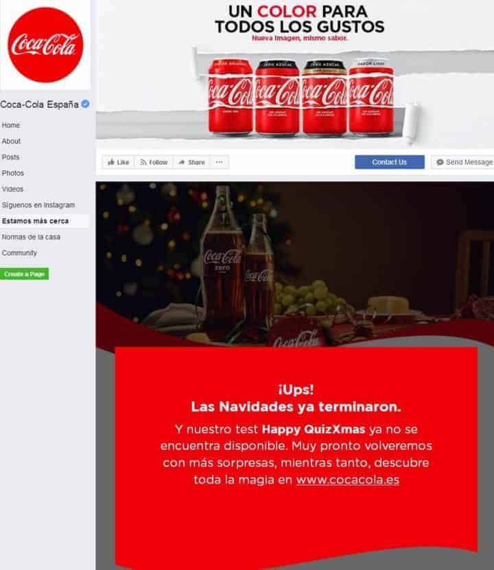 Facebook page design coca-cola spain