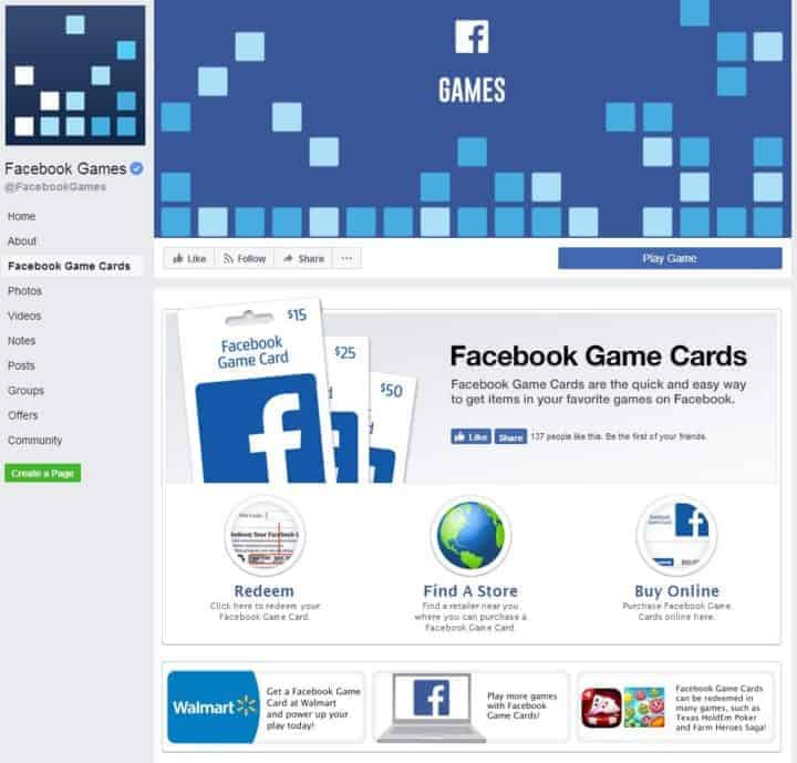 Facebook page design facebook games