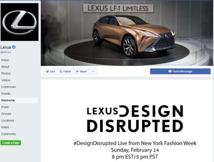 Facebook page design lexus