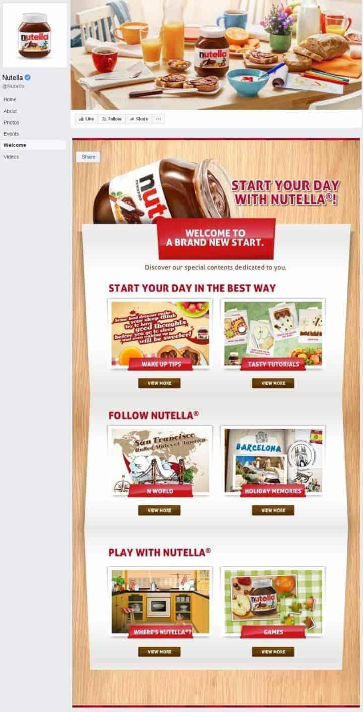 Facebook page design nutella