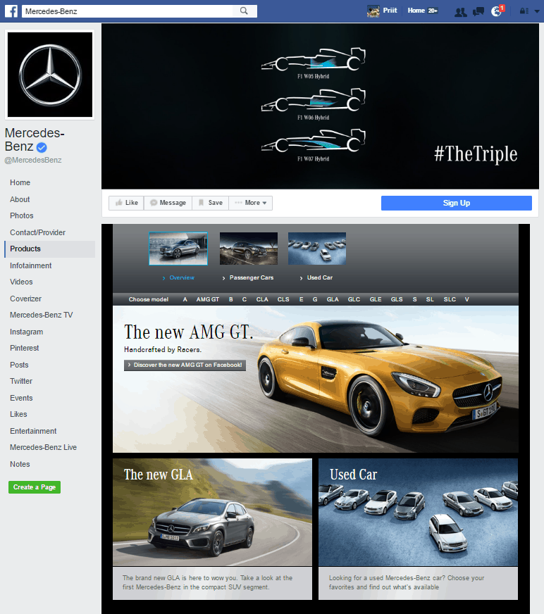 mercedes benz facebook page