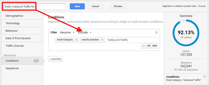 google analytics segments outbound traffic no