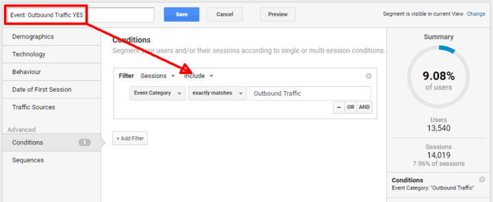 google analytics segments outbound traffic yes