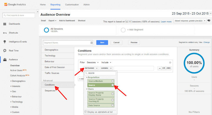 google analytics social media segment parameters