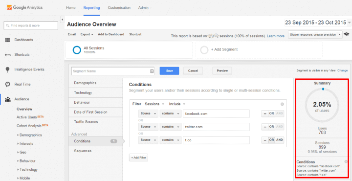 google analytics social media segment view