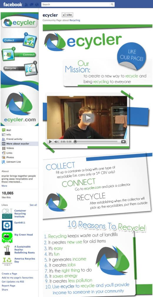 ecycler1 520x1009 26 Great Facebook Landing Page Examples