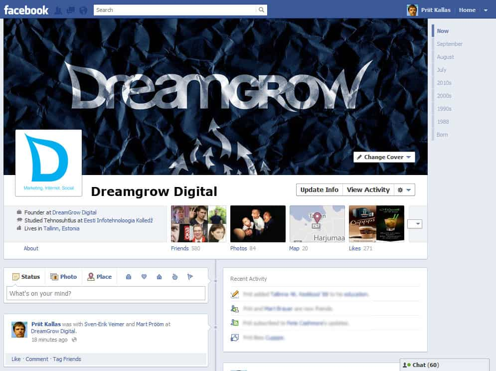 Will There Be Timeline for Facebook Pages? @DreamGrow 2018 Facebook Page Timeline Example