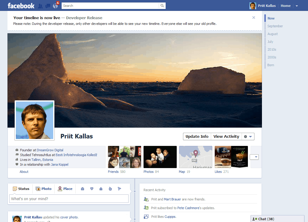 Enable Facebook Timeline Right Now on Latest Writing In First Person