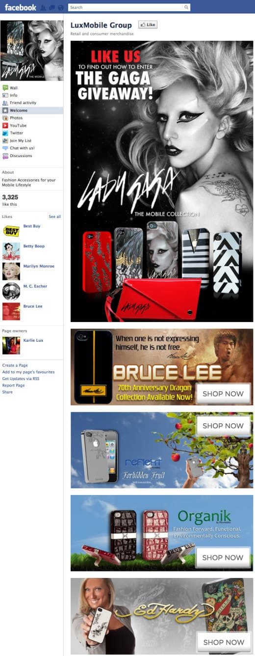 luxmobile 520x1336 26 Great Facebook Landing Page Examples