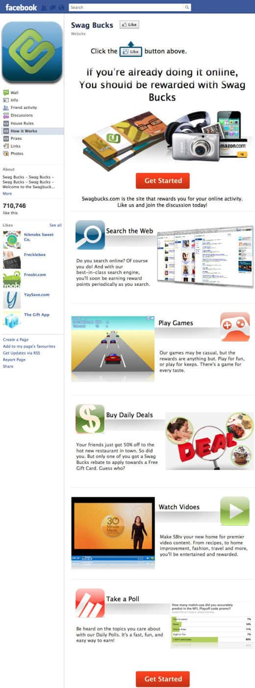 swagbucks 520x1403 26 Great Facebook Landing Page Examples