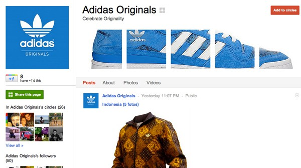 adidas 13 Cool Examples of Google+ Brand Pages