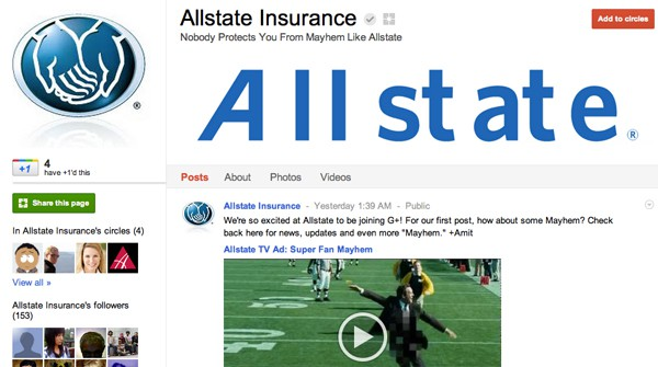 allstate 13 Cool Examples of Google+ Brand Pages