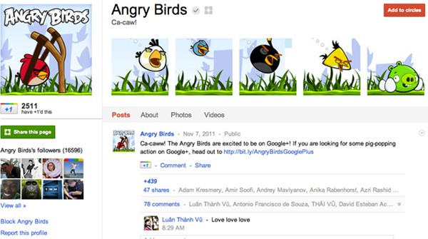 angrybirds 13 Cool Examples of Google+ Brand Pages