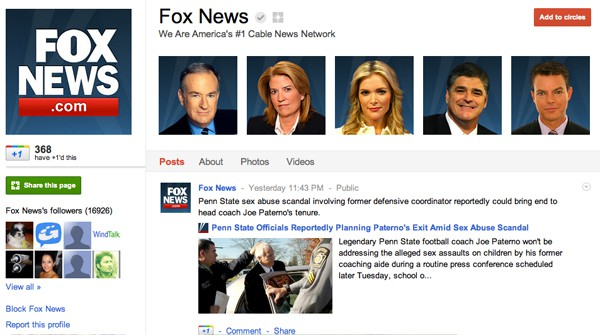 foxnews 13 Cool Examples of Google+ Brand Pages