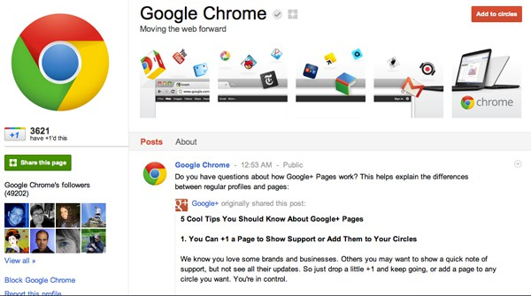 google chrome 13 Cool Examples of Google+ Brand Pages