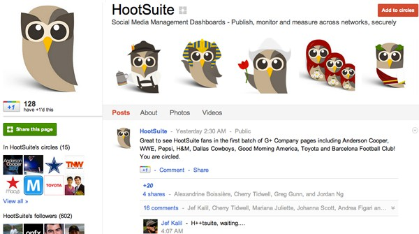 hootsuite 13 Cool Examples of Google+ Brand Pages